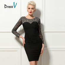 Dressv Luxury Black Cocktail Dresses 2017 Sheer Long Beaded Sleeves Short Party Formal Occasion Dresses Clubdress Cocktail Dress(China)