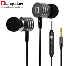 Langsdom i7A 3.5mm Metal Earphones Super Bass Stereo Earphone Earbuds with Microphone Volume Headsets for phone fone de ouvido