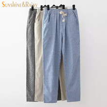 2017 spring summer stripe pants female cotton linen leisure pants  drawstring comfortable pantyhose ladies ankle trousers