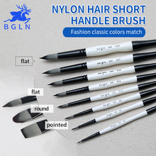 Bgln 1Piece Nylon Hair Professional Watercolor Paint Brush Round Flat Pointed Watercolor Oil Acrylic Painting Brush Art Supplies(China)