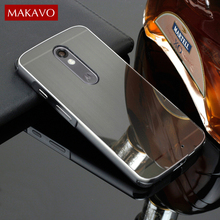 Luxury Brushed Case For Motorola Moto X Force / Droid Turbo 2 PC Mirror Back Cover & Plating Metal Frame Set Phone Coque Fundas