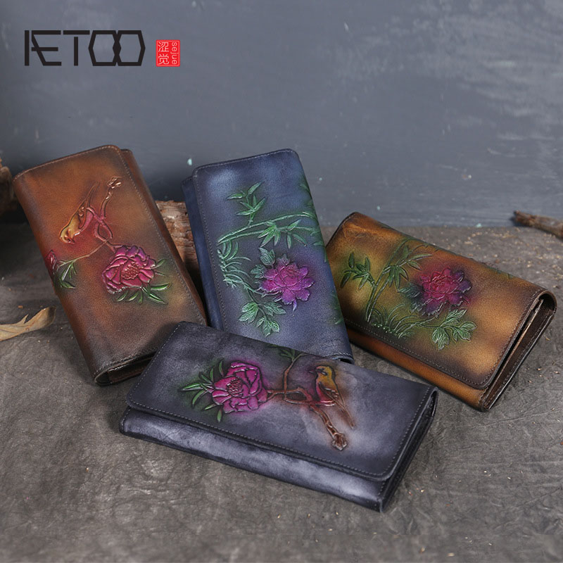 AETOO New ethnic style leather clutch hand-embossed personalized long wallet purse two fold womens leather wallet<br>