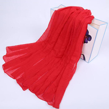 Helisopus Fashion Women Charm Latest Solid color Long Cotton Wrap Soft Warm Chinese Red Lady Scarf Shawls Apparel Accessories