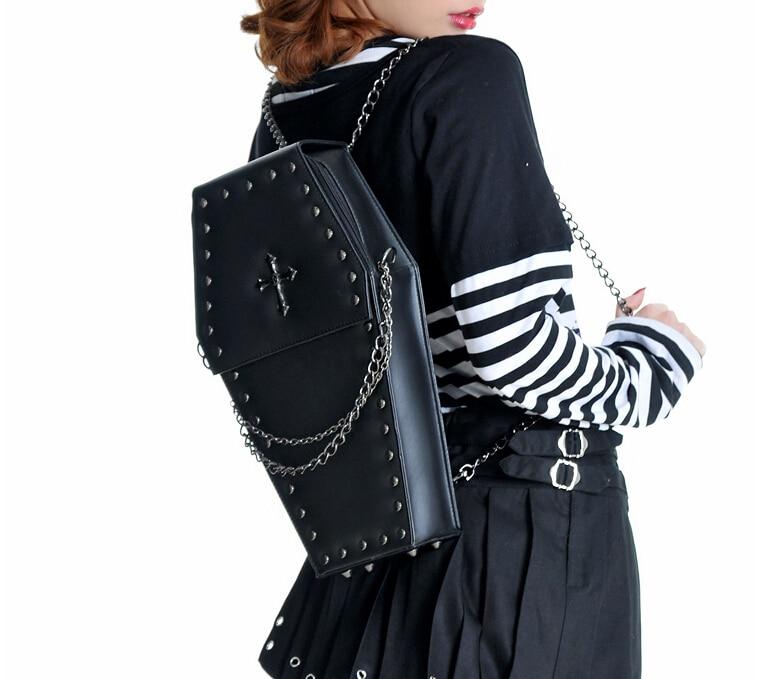 Mini Punk Lolita Japanese Harajuku Cosplay One Shoulder Coffin Bag Cross  Rivet Purse Phone Bag Cross Body Bag<br><br>Aliexpress
