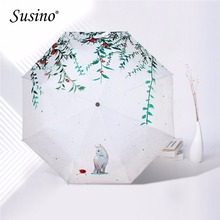 Susino Umbrella Lightweight Clear Compact UV-Protection Printed  Folding Adults Women's Travel Manual Open Umbrellas