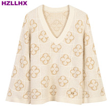 HZLLHX women fall autumn news Elegant Beige Fancy golden Flower Embroidered Jacquard ladies knit Top V-neck Loose Knit Sweater