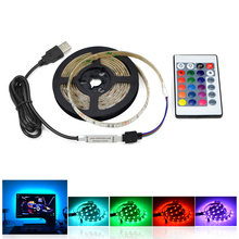 IP20 no waterproof Warm White RGB USB cable LED strip light 3528 SMD 1m 2m 3m 5m / RGB remote control for desktop TV Decor lamp(China)