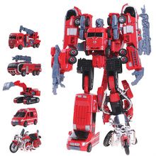 Kid Funny 5 in 1 Big Size  Toy Deformation Robot Car Defensor Action Figure Fire Engineering Combiner Truck Motorcycle Gift