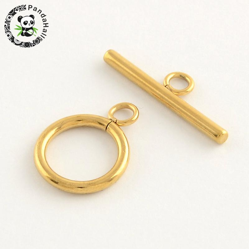 304 Stainless Steel Ring Toggle & TBar Clasps, Golden, Toggle: 19x14x2mm, Hole: 3mm; Tbar: 24.5x7x2.5mmm, Hole: 3mm