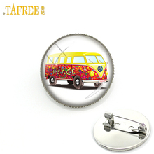 TAFREE hippie peace sign London double decker bus brooches high quality glass agem happy kids school bus badge brooch pins H154(China)
