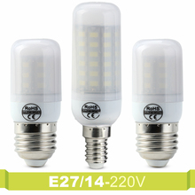 E27 E14 Lampara 24 30 38 48 56 69LEDs 220V Spotlight LED Lamp Milky Cover Corn Bulb SMD 5730 Lampada Led Bulb Lumen Lighting