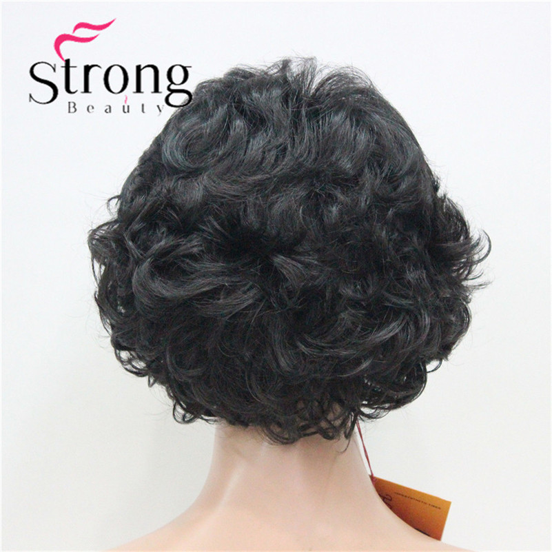 E-7125 #2New Wavy Curly Off Black Wig Short Synthetic Hair Full Women's Wigs For Everyday (6)