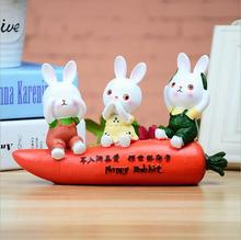 Creative Crafts No Listen No See No Talk Happy Rabbit With Carrot Resin Crafts Home Ornaments E494