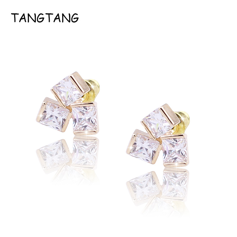 Vintage Cubic Zirconia Stud Earrings For Women Square Clear Crystal Stone Engagement Valentine's Day Gifts Brincos Big Sale