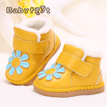 baby shoes new born winter genuine leather shoes soft toddler prewalkers girls plush inside cotton-padded new baby boys shoes(China)