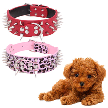Dog Collar pink Red Sharp Diamond heart shaped Spiked Studded PU Leather Dog Collar five holes for Large Dog Pet Pitbull Mastiff(China)