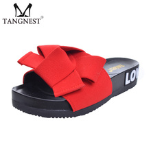 Tangnest Summer Beach Floral Woman Slippers Butterfly-Knot 2017 New Women Flat Platform Sweet Soft Solid Female Slides XWT608(China)