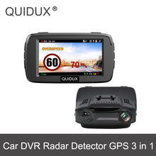 QUIDUX Car Dash Cam Radar Detector GPS 3in1 Ambarella A7LA50 Full HD 1926P 170 Degree LDWS Video Recorder Russian Car DVR Camera(China)