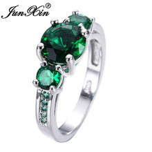 JUNXIN Green Finger Ring Jewelry Anel White Gold Filled CZ Wedding Engagement Ring Jewelry Retro Vintage RW0140