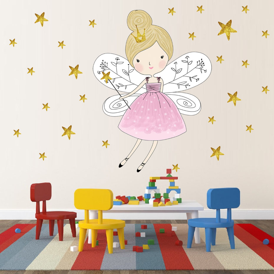 HTB1utNwldrJ8KJjSspaq6xuKpXaB - 44pcs Stars Cartoon Fairy Girl Wall Sticker For Kid Room