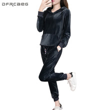 Black Gray Gold Velvet Tracksuits 2 Piece Set Women 2017 Autumn Fashion Hoodies Long Sleeve Top And Pants Two Piece Suit(China)