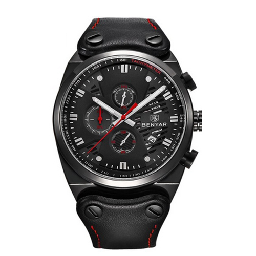 BENYAR Army Army Fashion Mens Wristwatch Chronograph Date Dial Genuine Leather Band Watches black red<br>