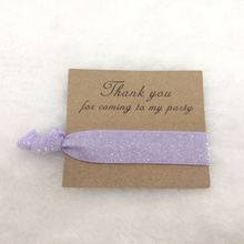 Light Purple Glitter Thank You for Coming to My Party Card Bridesmaid Gift Bridesmaid Hair Tie Favors Wedding Favors(China)