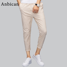 Anbican Brand 2017 Summer Khaki Linen Pants Men Fashion 3/4 Casual Pants Slim Fit Trousers Plus Size 4XL 5XL