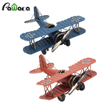 Retro Biplane Model Home Decor Metal Plane Model Iron Aircraft Glider Biplane Pendant Airplane Figurines Status Children Gift