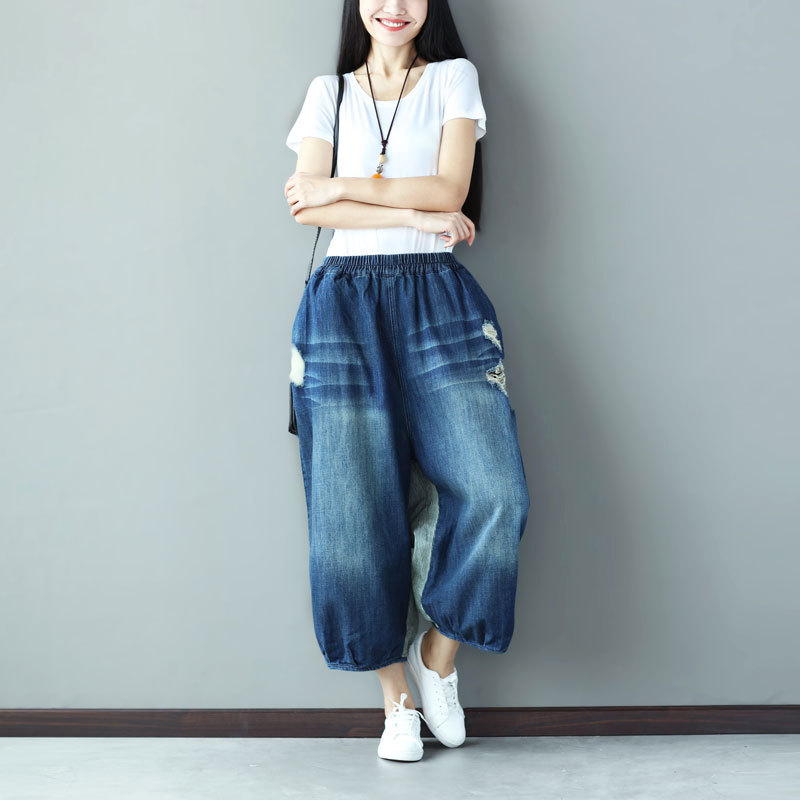 Vintage Contrast Spliced Striped Denim Pants Autumn Women Fashion Baggy Bloomers Wide Leg Jeans Trousers 092803Îäåæäà è àêñåññóàðû<br><br>