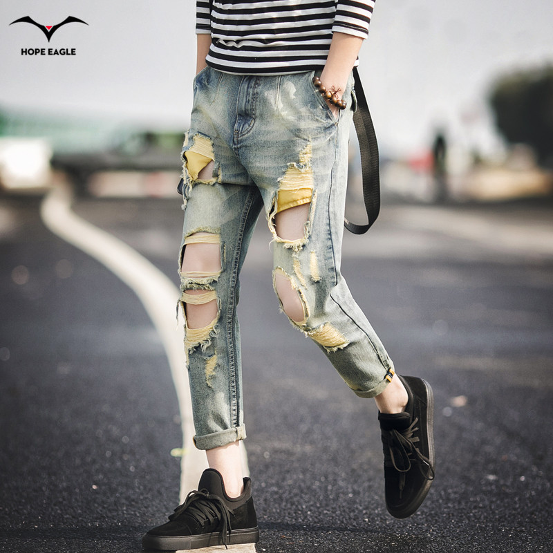 2017 spring and summer break the hole in the mens wear jeans nine pants tide mens fashion pants plus size 28-36 codeОдежда и ак�е��уары<br><br><br>Aliexpress