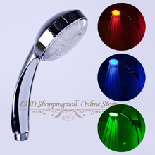 LED shower head  RGB light temperature control 3 color change Bath faucet  no battery Retail showers for bathroom