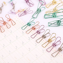 Cute Kawaii Colored Metal Paper Clips For Ticket File Creative Binder Clips Korean Stationery Free Shipping 671(China)