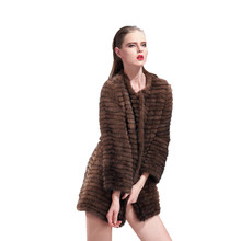 ZY89025 2016 Special design Natural Knitted Mink Fur Coat Jacket Autumn and Winter Women's Fur Outerwear Coats Garment(China)