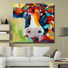Free delivery stretch high quality red abstract art cow modern abstract decorative wall painting animal oil painting(China)