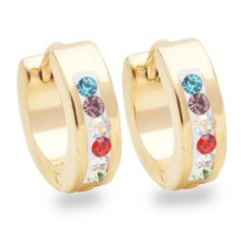 Yunkingdom cute small earrings stainless steel colorful crystal hoop  earrings for women Teen Girls wholesale UE0300 606ea90b6a60