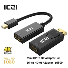 ICZI 2 Pcs Thunderbolt Mini DisplayPort DP to DisplayPort DP Adapter 4K + DisplayPort to HDMI Adapter 1080P for Apple Series