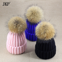 Baby Boy and Girl Winter Raccoon Fur Hat Kids Knitted Pom Pom Cap Natural Fur Winter Thick Warm Cap For Children(China)