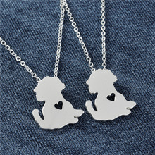 Wholesale Poodle Necklace Matt Silver Dog Collier Teddy Jewelry with Heart Girl Gift Necklaces 10pcs
