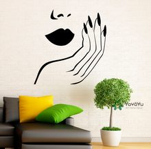 Modern Style Salon Girls Wall Decal Sexy Woman Lips Hand Nails Vinyl Wall Stickers Removable Interior DIY Beauty Home Decor T-25(China)