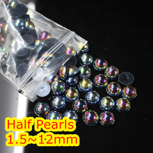 Jelly Black AB Color 1.5mm~12mm All Size Choice Flat back ABS round Half Pearl beads, imitation plastic half pearl beads