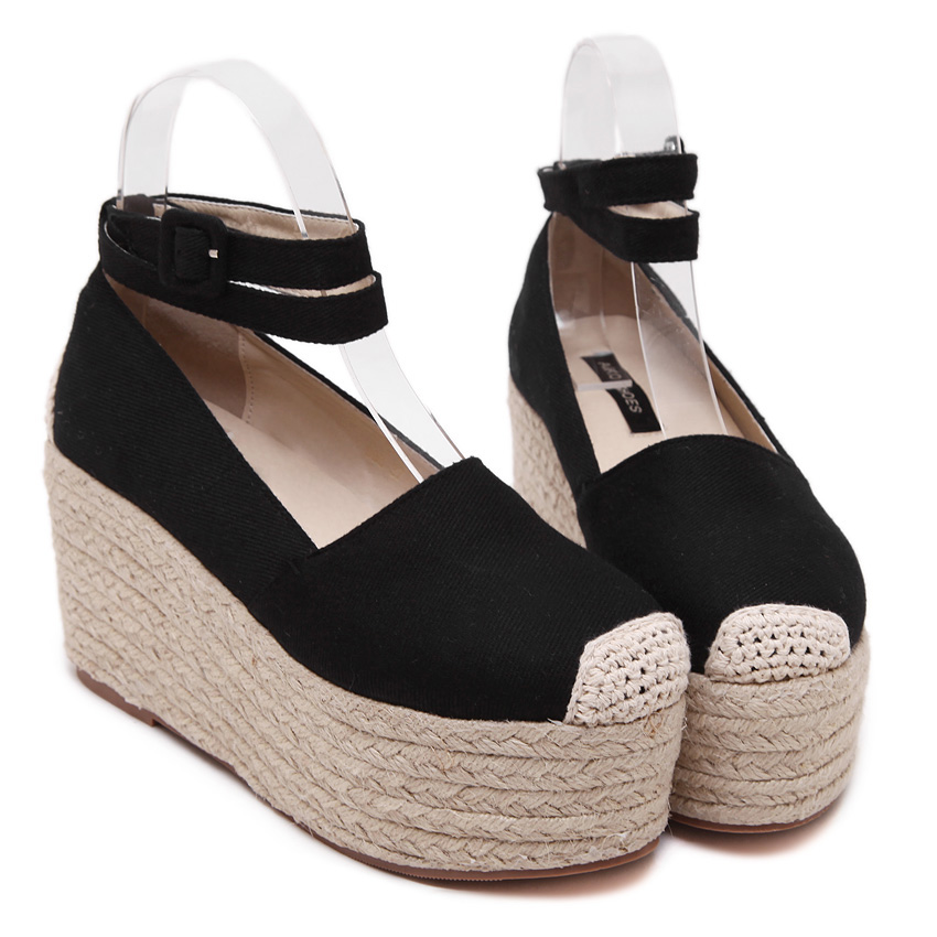 Women Espadrilles Canvas Casual Summer Vacation Rope Sole Thick Platform Flat Mary Janes Shoe Ankle Strap Slip on Muffin Shoe<br><br>Aliexpress