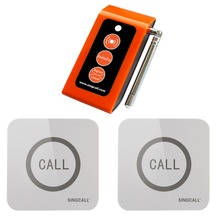 SINGCALL Wireless emergency call system, Caregiver 2 Touchable Nurse Calling Buttons,1 Caregiver Pager(China)