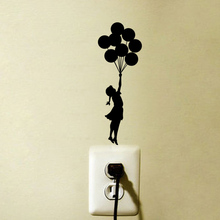 Flying Balloon Girl Cartoon Accessories Wall Decal Vinyl Switch Sticker 6SS0115(China)
