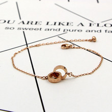 Fashion Famous Brand Jewelry Double Circle Anklets For Women Rose Gold Layers Round Foot Chains Tornozeleira Adjustable Length