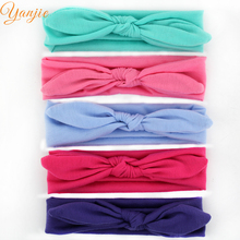 2017 Chic Kids Girl Solid Cotton Bows Elastic Bunny Headbands For Party New Arrival Rabbit Ears Headwrap Bandana Christmas(China)