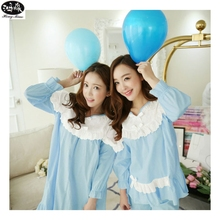 2016 Spring Pajama Sets Sleepwear Female Lace Princess Pyjamas Lounge Set Nine Points Sleeve Casual Pijamas(China)