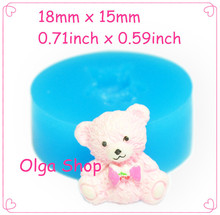 DYL215 Cute Bear Silicone Mold with Bow Cake Decoration Food Safe Gum Paste Soap Butter Sugar Nougat Mould