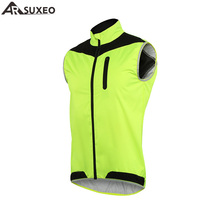 ARSUXEO 2017 Cycling Vest Windproof Waterproof MTB Bike Bicycle Vest Breathable Reflective Clothing Cycling Jacket 17V2(China)