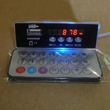 Blue Lighting MP3 decoder Board TF card / USB / FM AUX / Electronic Clock Card audio MP3 Decodeing Board with Remote control